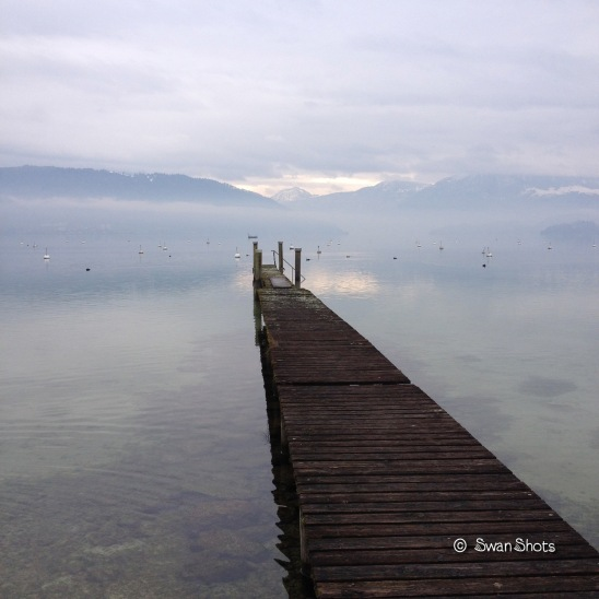 zugersee clouds mist jetty silver gray
